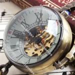 นาฬิกาล็อคเก็ต แบบ Mechanical watch โชว์กลไก สร้อยคอนาฬิกา แบบเก๋ เลนส์นูน เห็น กลไก ของขวัญ สำหรับคน ชอบนาฬิกา 58207