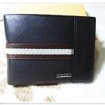 กระเป๋าสตางค์ผู้ชายหนังนิ่ม Bally สีดำ คาดแถบน้ำตาล b10317