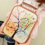 กระเป๋าสะพายหลัง ทรงสี่เหลี่ยม นำเข้าญี่ปุ่น สีน้ำตาล ดอกซากุระ preb1002