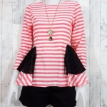 SALE!! blouse1805 เสื้อแฟชั่น ทรงเข้ารูปแขนยาว ระบายเอว ซิปหลัง ผ้าไหมอิตาลีเนื้อนิ่มสีครีมโอลด์โรส