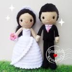 """ตุ๊กตาถัก คนแต่งงาน 12"""" ตารี"""