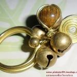 C013 แหวนทองเหลือง ลายก้นหอย ประดับหินไทเกอร์