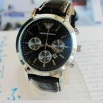 นาฬิกาข้อมือ ผู้ชาย Armani หนังแท้ แบบคลาสสิค สายหนังสีดำ หน้าปัดสีดำ ของขวัญสุดพิเศษ no 8156809 _1