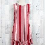 SALE!! dress3505 ชุดเดรสน่ารัก แต่งโบว์ด้านหลัง ชายระบาย ผ้าไหมอิตาลีเนื้อนิ่มลายริ้ว สีแดง