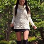 เสื้อกันหนาว ไหมพรมถัก เสื้อคลุม แขนยาว สีขาว แฟชั่น ยุโรป ถักคอ เป็นชั้น เสื้อไหมพรม ตัวยาว สวยหรู ใส่ไปเที่ยว ต่างประเทศ มีสไตล์ 799692
