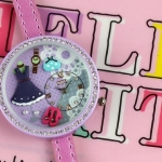 นาฬิกาข้อมือ Diy นาฬิกาข้อมือผู้หญิง สายหนัง แต่ง Display 3 มิติ โทนสีม่วง แฟชั่น ดีไซน์ ชุดเดรส รองเท้า ด้านในหน้าปัด ฝังเพชรคริสตัล เก๋ ๆ 545495
