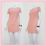 **สินค้าหมด dress2121 เดรสแฟชั่นงานแพลตตินั่ม ผ้ายืดเนื้อดี อกปักลายดอกไม้ แขนสั้น ซิปหลัง สีชมพูพาสเทล