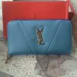 YSL กระเป๋าสตางค์ - สีฟ้าอ่อน ใบยาว
