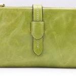 กระเป๋าสตางค์หนังแท้ กระเป๋าสตางค์ผู้หญิง ใบยาว หนังมันเงา จุบัตรได้เยอะ เสริมความจุด้วย กระเป๋าใส่บัตร ถอดเข้าออกได้ สีเขียวอ่อน no 606452_3