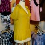 Sale!! blouse1587 เสื้อแฟชั่นคอปกเชิ้ต ผ้าชีฟอง กระดุมหน้า แขนสั้นเว้าไหล่ สีเหลืองมะนาว