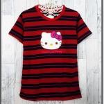 blouse3324 เสื้อยืดแฟชั่น แต่งหน้าคิตตี้ ผ้าโปโลยืดเนื้อนิ่มลายริ้วเล็ก-ใหญ่ สีกรมแดง
