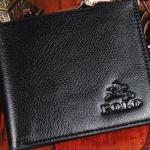 กระเป๋าสตางค์หนังแท้สีดำ ใบสั้น Polo