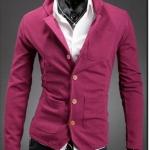 เสื้อสูท ผู้ชาย เสื้อ Jacket นอก แขนยาว ผ้า Cotton กระดุมหน้า สีชมพู กุหลาบ อมแดง มีกระเป๋า หน้า หลายจุด เสื้อคลุม คอปก ดีไซน์ เก๋ 278521_3