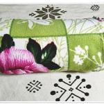 ผ้าห่มสำลี เนื้อนุ่ม สีเขียวลายดอกไม้ ขนาด 5 ฟุต