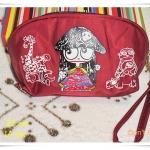 กระเป๋าใส่ของ กระเป๋าใส่เครื่องสำอางค์ Marc By Marc Jacob สีแดงเลือดหมูใบกลาง