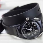 นาฬิกาข้อมือ แบบ ร็อค ๆ ผู้หญิง ผู้ชาย ใส่ได้ นาฬิกา สาย ซิลิโคนแท้ พัน 2 รอบ สไตล์ ร็อค พังค์ แนว ๆ สีดำ และ สีขาว 658840
