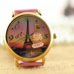 นาฬิกาข้อมือ Diy นาฬิกาข้อมือผู้หญิง สายหนัง แต่ง Display 3 มิติ หอไอเฟล กรุงปารีส สีชมพู หวาน ๆ นาฬิกาข้อมือแฟชั่น น่ารักมากค่ะ 379709