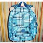 กระเป๋าสะพายหลัง กระเป๋าเป้ ลายสก๊อต KP สีฟ้า