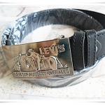 เข็มขัดหนังแท้ Levi's สีดำ พร้อมหัวเข็มขัดคาวบอยสีเงิน
