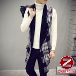 เสื้อผ้าผู้ชาย | เสื้อโค้ทแฟชั่น เสื้อโค้ทยาว ลาย สีขาวดำ แฟชั่นเกาหลี