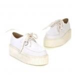 รองเท้าผ้าใบผู้หญิง เสริมส้น รองเท้า เตารีด รองเท้าผ้าใบสีขาว หนัง Pu แบบสวย ใส่สบาย มีเชือกผูก แนว Sport 100674