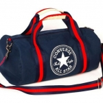 กระเป๋าเดินทาง กระเป๋าใส่เสื้อผ้า ไปยิม เล่นกีฬา แนว Sport Converse all star กระเป๋าสะพายข้าง ทรงกระบอก ผ้าแคนวาส สีน้ำเงิน กรมท่า 860560