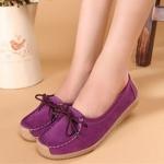 รองเท้าผู้หญิง หุ้มส้น ส้นแบน รองเท้าหนังแท้ ผู้หญิง รองเท้าคัทชู ใส่สบาย ดีไซน์ หนังแท้ มีเชือกผูก ใส่ทำงาน ใส่เที่ยว สีม่วง 40782_3