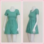 **สินค้าหมด dress2303 เดรสแฟชั่นน่ารัก คอกลม แขนสั้น ซิปหลัง เอวจับจีบ ผ้าสกินนี่(ยืดได้เยอะ) สีเขียวมิ้นท์
