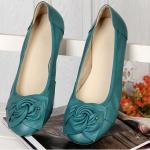 รองเท้าหุ้มส้น ผู้หญิง รองเท้าหนังแท้ ใส่เที่ยว ใส่ทำงาน ด้านหน้า ดีไซนติดโบว์ ใส่สบาย รองเท้าผู้หญิง ใส่ทำงาน สี เขียวอมฟ้า หายาก ราคาถูก no 77216_4