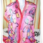 ผ้าพันคอ ผ้าคลุมไหล่ เนื้อซีฟอง Chanel สีชมพู S008