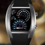 นาฬิกาข้อมือ ผู้ชาย แบบ Led ดีไซน์ สำหรับผู้ที่ชื่นชอบ การ แข่งรถ หน้าปัดบอกเวลา คล้ายกับ scale หน้ารถยนต์ มีระบบวันที่ และ Led สีฟ้า ดำ แดง ขาว no 6403966