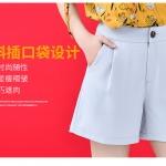 SALE!! Shorts490-Size-L-สีเทาอ่อน / กางเกงขาสั้นซิปหน้ากระเป๋าข้าง ผ้าคอตตอนผสมลินินเนื้อดีมีน้ำหนักทิ้งตัวไม่ยับง่าย