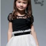 เดรส เด็กผู้หญิง ชุดกระโปรงเด็กผู้หญิง เสื้อ สีดำ ซีทรู เล็กน้อย ติดดอกไม้ สีดำ กระโปรงบาน สีขาว ใส่ออกงาน ทางการ ชุดเด็ก มีดีไซน์ 526690