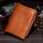 กระเป๋าสตางค์ผู้ชาย หนังวัวแท้ สีน้ำตาล เฉดส้ม กระเป๋าสตางค์ หนังแท้ ใบสั้น ใส่บัตรได้เยอะ กางออกเป็น 3 พับ มีช่องซิป ใส่เหรียญ 891050_1