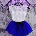 ชุดกระโปรงเด็กผู้หญิง เดรสเด็ก ใส่หน้าร้อน ชุดเด็ก แบบ ชุดไทย เสื้อลูกไม้สีขาว แขนกุด เข้ากับหน้าร้อน กระโปรงพลีช สีน้ำเงิน 971470