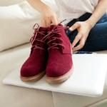 รองเท้าหุ้มส้น สูงเกือบข้อ รองเท้าผู้หญิงหุ้มส้น พื้นยาง ดีไซน์ สไตล์วินเทจ สุดคลาสสิค แบบเชือกผูกด้านหน้า สีพื้น สีแดง 502089_2