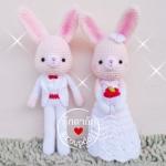 """ตุ๊กตาถัก กระต่ายแต่งงาน 11"""" (ชมพู)"""