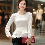 เสื้อเชิ้ต สีขาว แขนยาว ผ้าชีฟอง แบบสวย มีโบว์ที่เอว no 9638