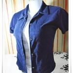 #155010 Used เสื้อกั๊ก เสื้อคลุม เนื้อผ้าขนหนู สีกรมท่า แถมฟรี เสื้อยืดด้านใน