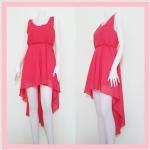 **สินค้าหมด dress2108 เดรสออกงานแฟชั่นงานแพลตตินั่ม ผ้าชีฟอง เอวยืด ชายหลังยาว สีแดงอมชมพู