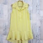 SALE!! dress3419 ชุดเดรสน่ารักคอปกเชิ้ตทรงหางปลา หน้าสั้นหลังยาว ผ้าไหมอิตาลีเนื้อนิ่มลายริ้วใหญ่ สีขาวเหลือง