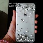Handmade case iPhone 6 plus crystal DIY diamond เคสไอโฟน 6 คริสตัลสีขาวใส ผสมคริสตัลเม็ดเล็กใหญ่คละไซส์ เคสไอโฟนหรูเว่อร์ ID: A260
