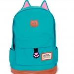 กระเป๋าสะพายหลัง กระเป๋าเป้ ผ้า canvas หรือ ผ้ายีนส์ กระเป๋าใส่หนังสือ ไปเรียนได้ แฟชั่น ญี่ปุ่น หูแมว น่ารักสุด ๆ สีฟ้า no 4833060_5