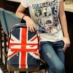 กระเป๋าเป้ กระเป๋าสะพายหลัง นำเข้า ผ้ายีนส์ ผ้าแคนวาส ลาย ธงชาติอังกฤษ no 591670