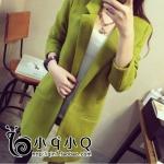 เสื้อโค้ทกันหนาว ทรงยาว ผ้าไม่หนา บุซับในกันลม เรียบ เก๋ๆ สีเขียว พร้อมส่ง