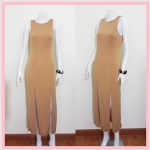 **สินค้าหมด dress2218 แม็กซี่เดรส/เดรสยาวแฟชั่น แขนกุด ซิปหลัง กระโปรงผ่า ผ้ายืดเนื้อหนา สีน้ำตาลทอง
