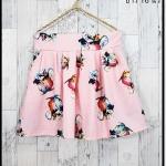 skirt295 กางเกงกระโปรง กระเป๋าข้าง ผ้าหนาเนื้อดีพิมพ์ลายดอกไม้ พื้นสีชมพูพาสเทล