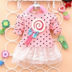ชุดกระโปรงเด็กผู้หญิง อายุ 6 - 24 เดือน 2 ขวบ เดรสเด็ก น่ารัก ๆ สีชมพูอ่อน เสื้อยืดแขนยาว ลายจุด ติด อมยิ้ม กระโปรงสีขาว เด็ก ๆ ชอบ 804387