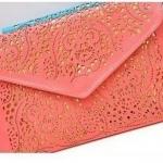 กระเป๋าถือกระเป๋าสะพาย ใส่เอกสารได้ แบบบาง ฉลุลาย มีสายสะพายได้ กระเป๋าใส่เอกสารผู้หญิง สีโอรส  no 339233_2