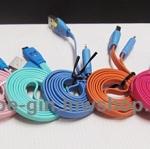 สายชาร์จ +USB มีไฟกระพริบรูปอมยิ้มแบบสายแบน ยาว 1 ม. **หัวซัมซูง